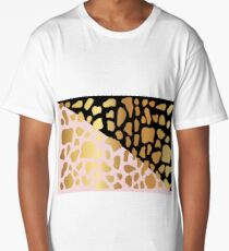 Gold Dark Spot Animal Skin on Black and Pink Background Long T-Shirt