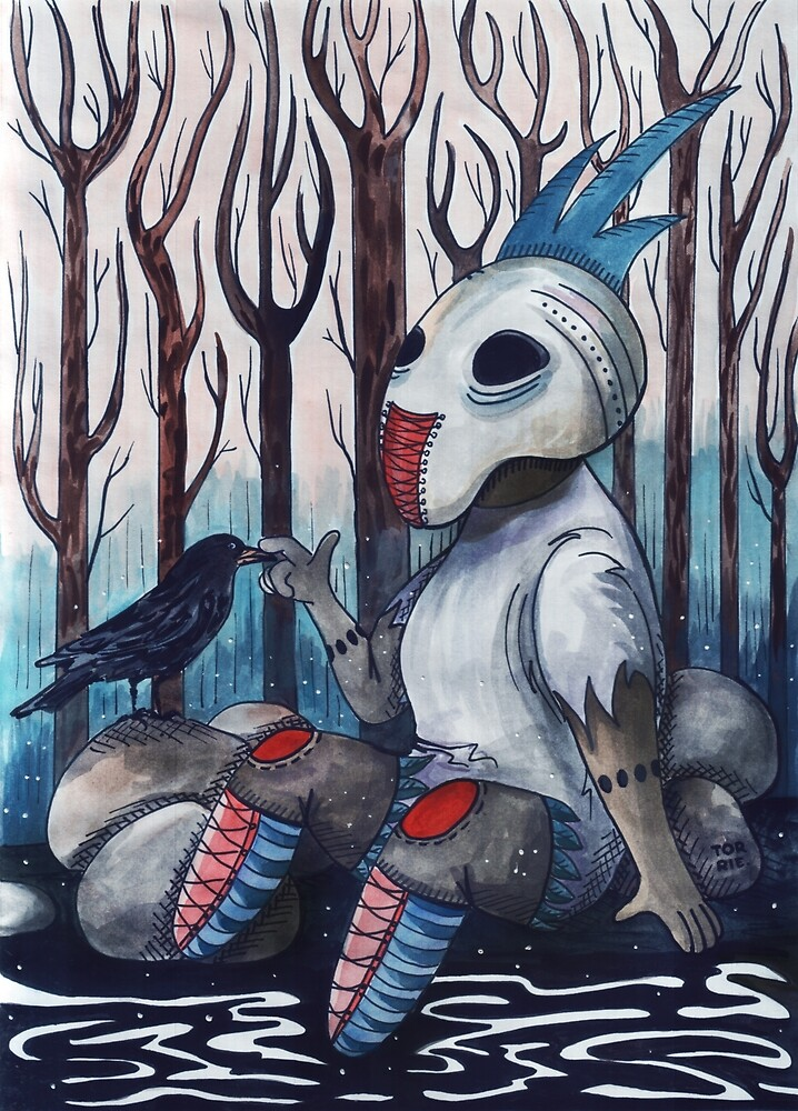 Forest Creature And A Crow by gorbylyova