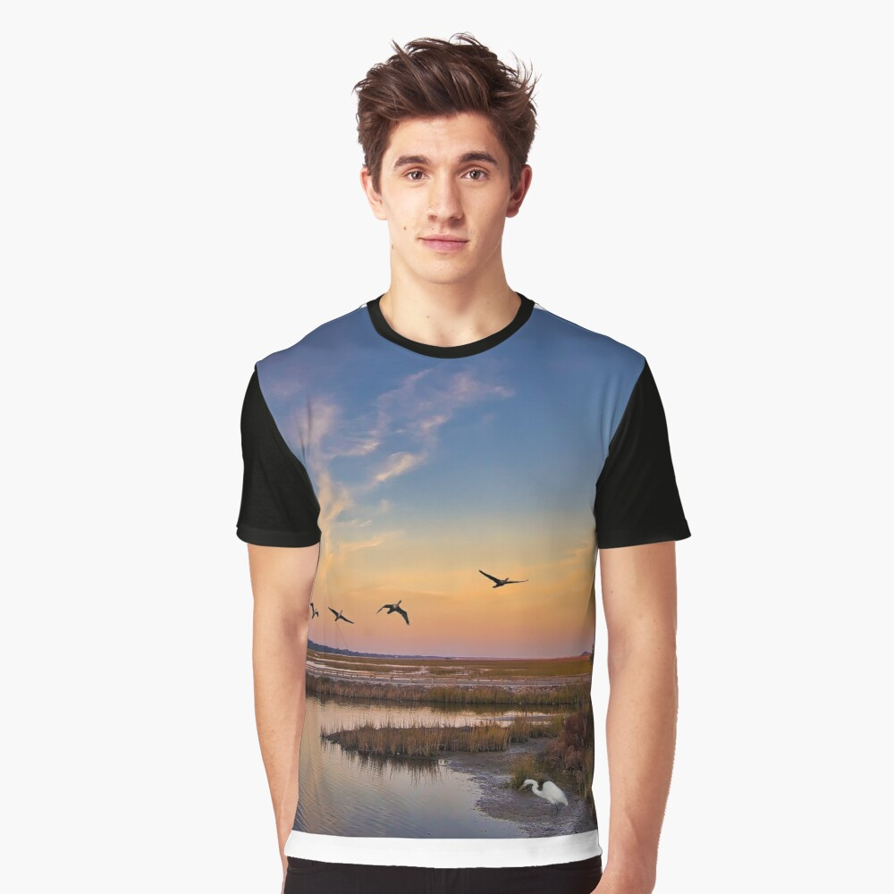Huntington Beach State Park around sunset Graphic T-Shirt Front