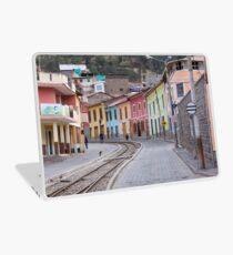 Railroad tracks winding through Alausi colourful streets, Ecuador Laptop Skin