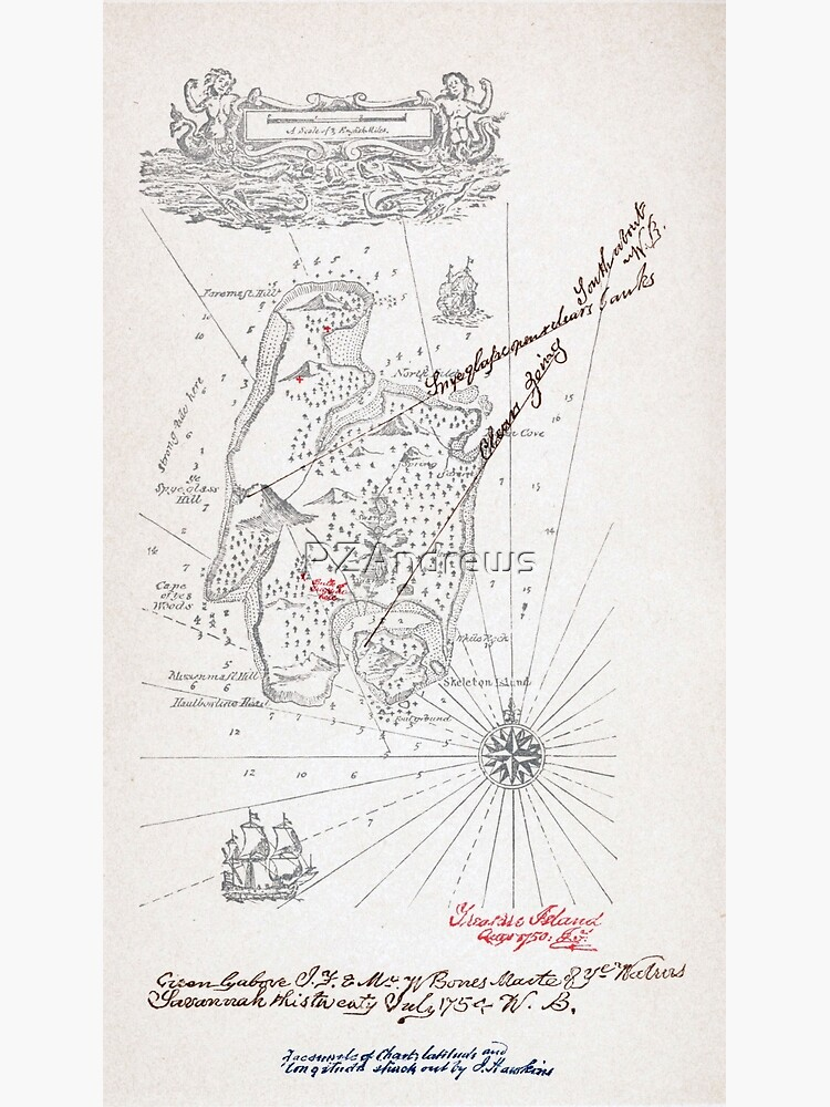Mapa Isla Del Tesoro.Mapa De La Isla Del Tesoro Por Robert Louis Stevenson Poster