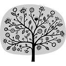 Stylized Flower Tree - Light Gray by Artberry