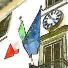Balcony with flags and clock by Giuseppe Cocco