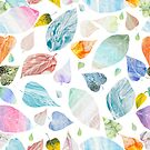 Multycolor leaves on white background by Lusy Rozumna