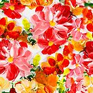 Garden flowers in red, yellow, green colors by Lusy Rozumna