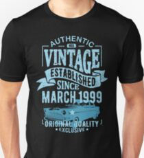 Vintage established since march 1999 Unisex T-Shirt