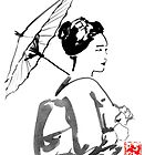 geisha under umbrella by pechane