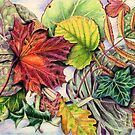 Montage of Autumn Leaves (coloured pencil on paper) by Lynne Henderson