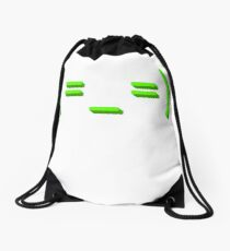 Tired kaomoji emoticon face Drawstring Bag