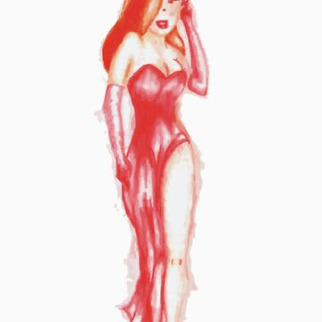 the woman in red.........ink by Juanito