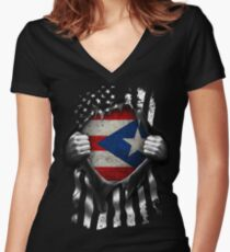Puerto Rican American Flag USA Puerto Rico Women's Fitted V-Neck T-Shirt