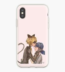 Vinilo o funda para iPhone Marinette y Chat Noir