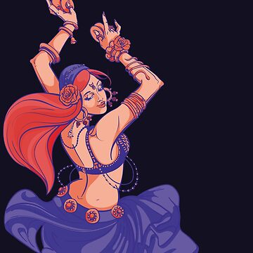 gypsy fusion belly dancer dancing with cymbals  by JeraRS