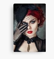 Portrait of a beautiful girl with red lips  Canvas Print