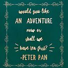 Would you like an  Adventure  Now Or shall we Have tea First? Peter Pan Quote Rose Gold Typography by Monica Michelle