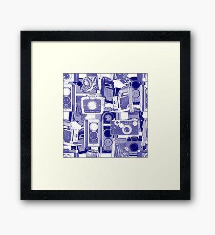 Vintage Camera Pattern in Blue Framed Print