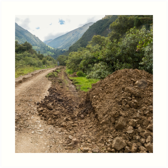 Partially destroyed dirt road in Andes mountains, Ecuador by Kendall Anderson
