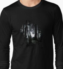 HP best friends - magic stag in the forest with trees borders Long Sleeve T-Shirt