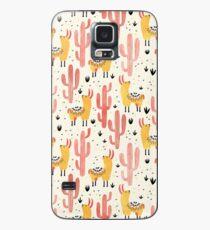 Gelbe Llamas rote Kakteen Hülle & Klebefolie für Samsung Galaxy