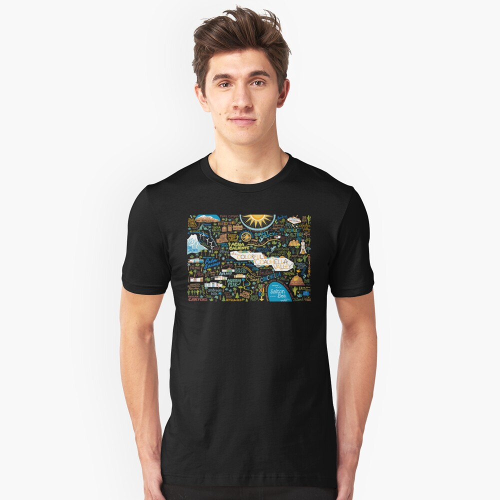 Coachella Valley Illustrated Map - Palm Springs, Joshua Tree Unisex T-Shirt Front