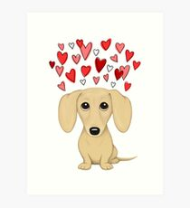 Cream Short Haired Dachshund with Hearts Art Print