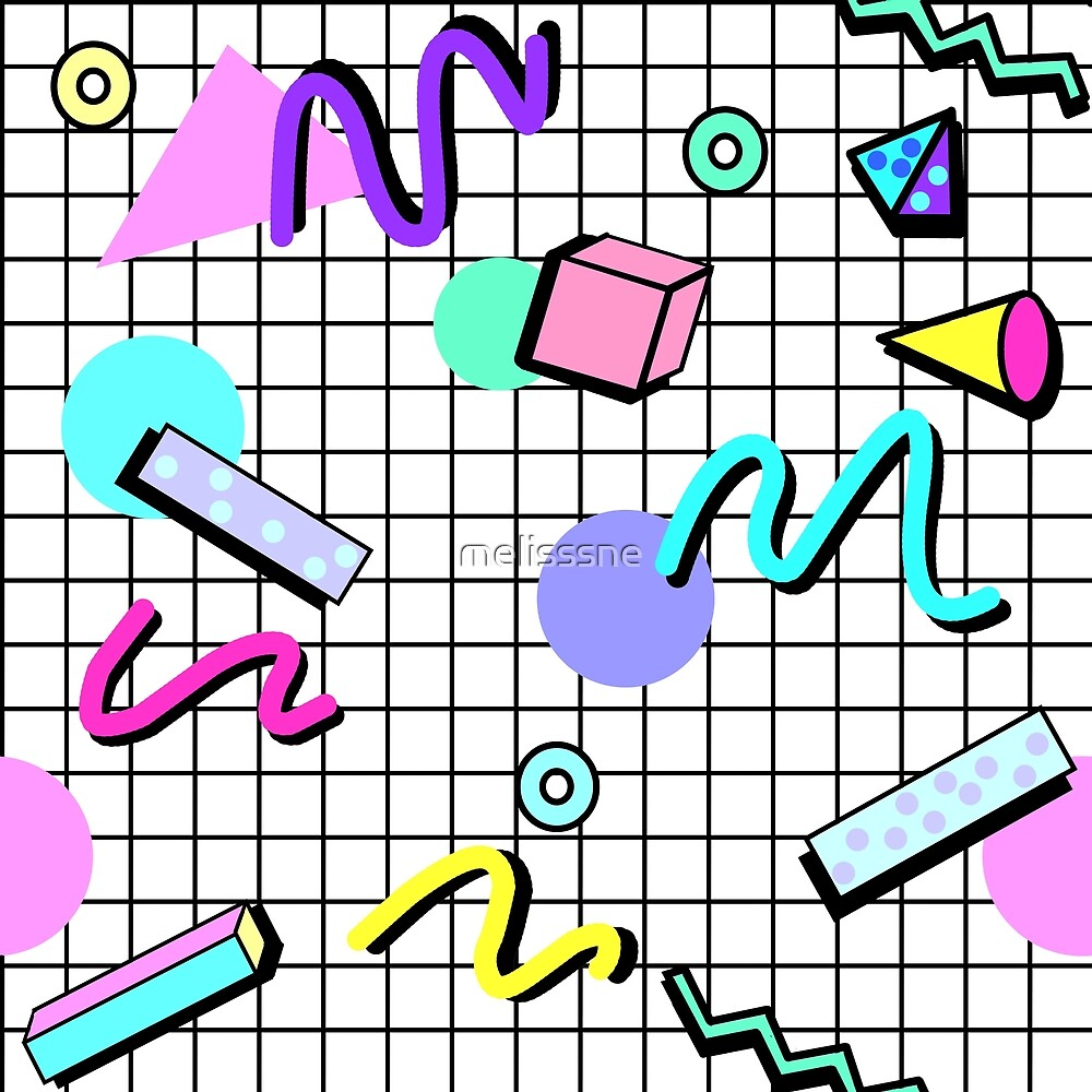 80s Retro Party Grid Design (White BG)