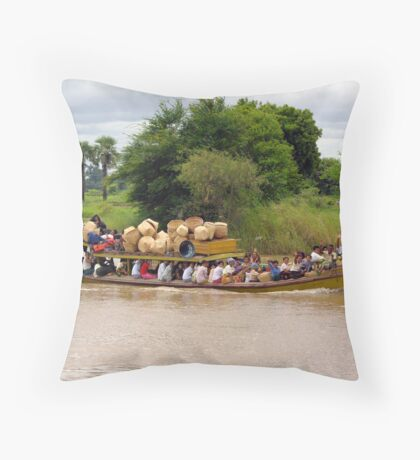 """The early morning """"bus"""" on Burma's upper Irrawaddy River Throw Pillow"""