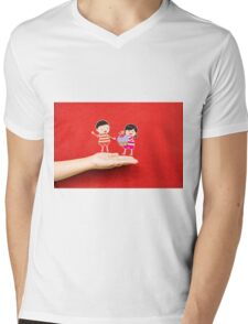 boy and girl with cupcake on a hand Mens V-Neck T-Shirt