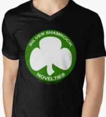 Silver Shamrock Novelties (SSN) Shirt - Traditional White Shamrock Design Men's V-Neck T-Shirt