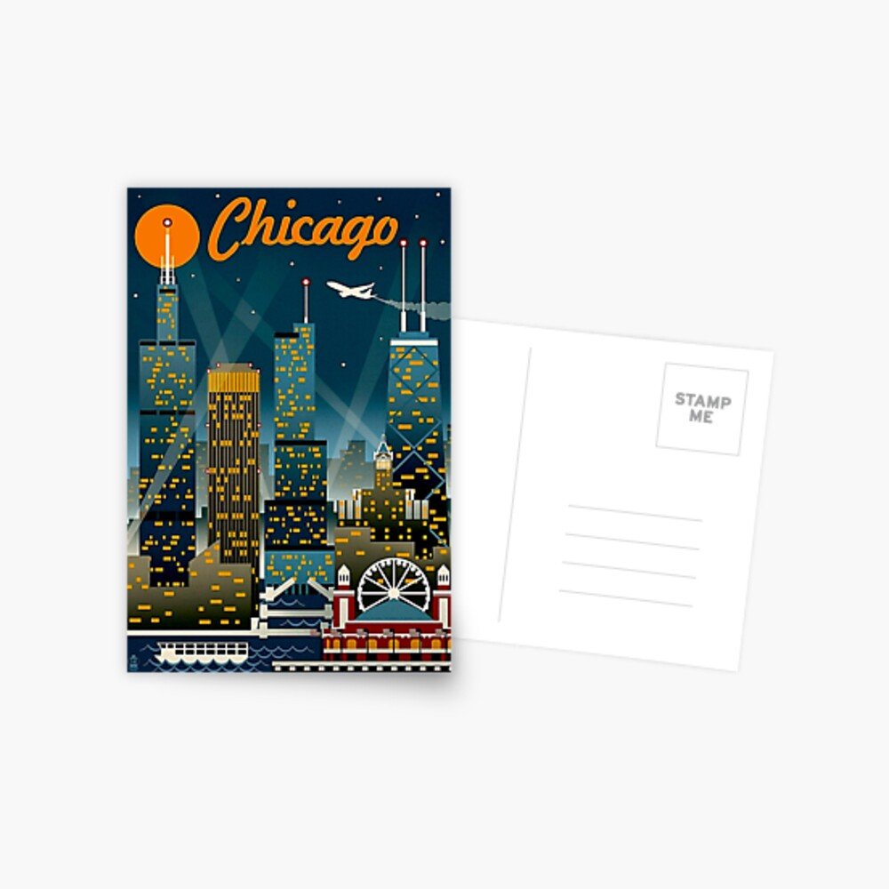 """CHICAGO"" Vintage Travel Advertising Print Postcard"