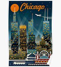 """CHICAGO"" Vintage Reise Werbung Print Poster"