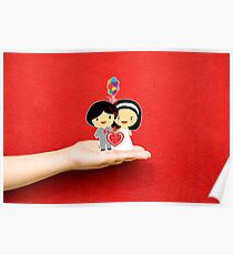 happy wedding on a hand Poster