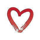 Red Brush Stroke Heart by ThePrintPuffin