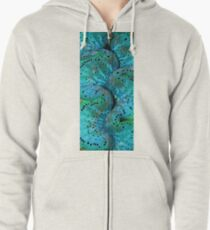 Sinusoidal in Blue Zipped Hoodie