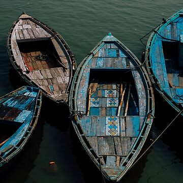 Blue Boats on the Ganges by strangerandfict