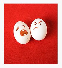 Funny easter emotion eggs isolated on red, love happy eggs couple Photographic Print