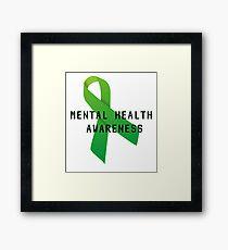 Mental Health Awareness Ribbon w/ light outer glow Framed Print