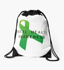 Mental Health Awareness Ribbon w/ light outer glow Drawstring Bag