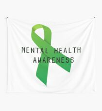Mental Health Awareness Ribbon w/ light outer glow Wall Tapestry