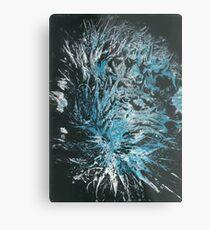 Aussie Polar Bear's Rear Paw Print in Blue & White on Black Metal Print