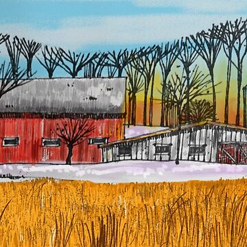 Farm Scene at Dusk by Russ Fagle by magichammer