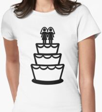 Lesbian wedding cake Womens Fitted T-Shirt