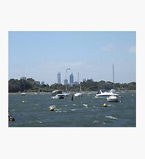 The Swan River On A Windy Day. Crawley. Photographic Print