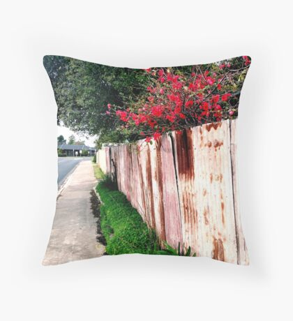 japonica and the rusty fence Throw Pillow