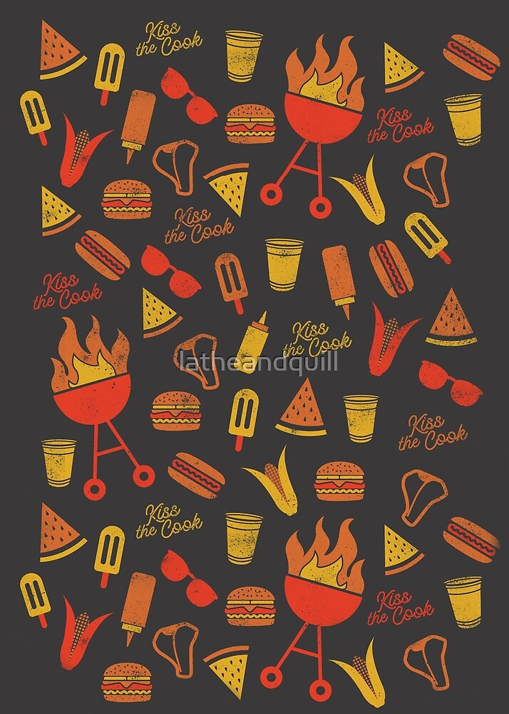 Kiss the Cook BBQ Pattern - Dark by latheandquill