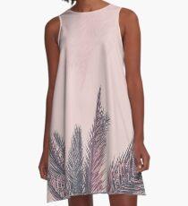 Ziemlich in rosa tropischen Palmblättern A-Linien Kleid