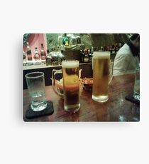 drinking beer Canvas Print