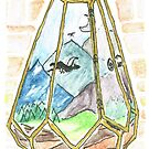 Mountain Fantasy Terrarium with Dragons by KimDebling