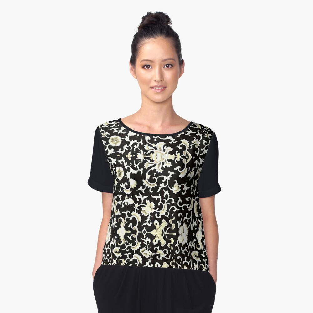 Chinese floral motifs in black white  cream  Women's Chiffon Top Front