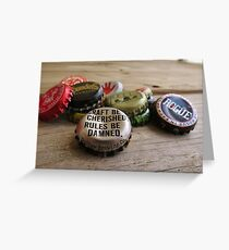 Craft Beer Bottle Caps Greeting Card